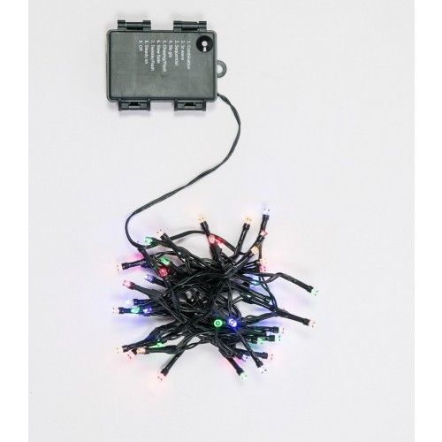 CATENA LUMINOSA 48 LED 2,40 METRI LUCE MULTICOLOR A BATTERIA CON TIMER